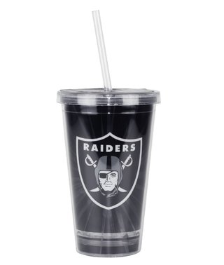 Copo Com Canudo Oakland Raiders - 480ml - Nfl