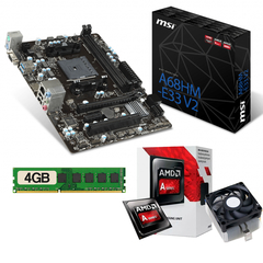 Kit De Actualizacion Mother Msi A68hm + Cpu Amd A6 + 4gb Ram