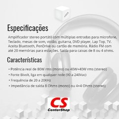 Cabeçote Amplificador Multiuso Map80 Stereo 80w Rms