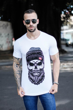 Camiseta Long Line Skull With Cap - comprar online