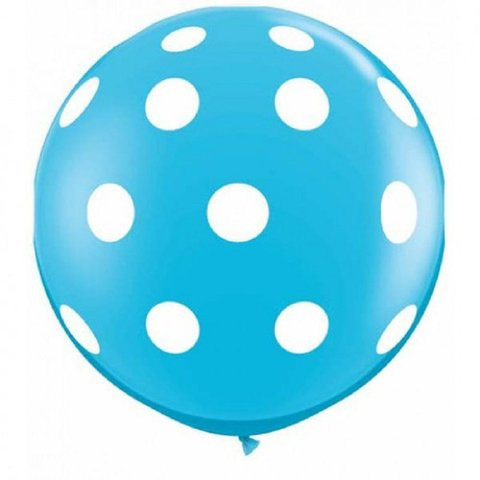 BALÃO GIGANTE 3 PÉS QUALATEX  BIG POLKA DOTS-A-RND BLUE C/1