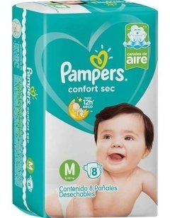PAMPERS CONFORT SEC pañal mediano x8