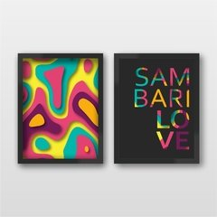 Kit 2 Quadros Decorativos Colorful waves e Sambarilove Sem Furar a Parede - comprar online