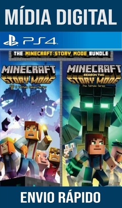 MINECRAFT: STORY MODE TEMPORADA 1 E 2 COMPLETA PS4 PSN ORIGINAL 1 MÍDIA DIGITAL (LEG BR)