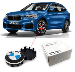 Imagem do Kit 4x Roda Calota Simbolo Emblema BMW 56mm X1 F48 2018 2019 2020 2021
