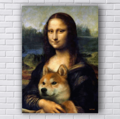 Placa Mona lisa com cachorro