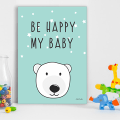 Placa infantil URSO POLAR BE HAPPY MY BABY