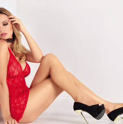 Babydoll de Encaje + Less String (Hilo Dental) - Mordisco Sexy - - Sextasis Shop