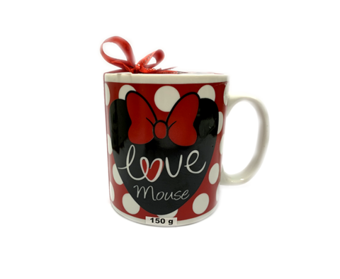 CANECA LOVE MINNIE COM DRAGÉAS DE FLOCOS 150G