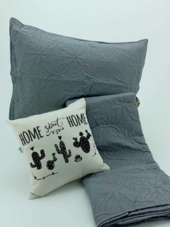 Set Cubrecama Quilt Gris Queen en internet