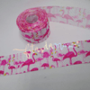 Fita gorgurão 38mm estampada flamingo