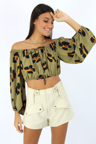 Top Estampado Animal Print Open