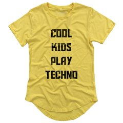 camiseta longline amarela cool kids play techno