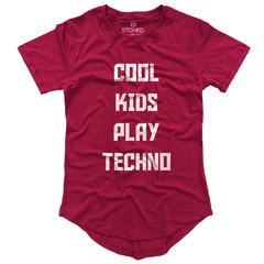 camiseta longline rosa escuro cool kids play techno