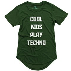 camiseta longline verde cool kids play techno