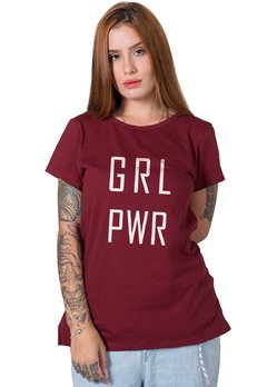 camiseta feminina bordo girl power