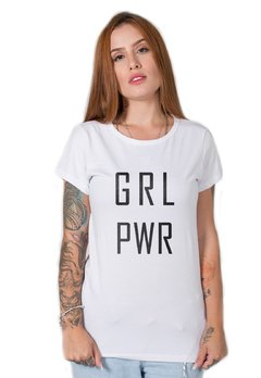 camiseta feminina branca girl power