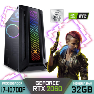 Computador Gamer Alfatec SAGITARIUS PLUS Intel Core i7-10700F RAM 32GB SSD 1TB RTX 2060 Windows 10