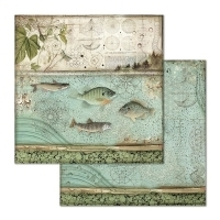 "Papel 30.5x30.5cm (12""x12"")  - Forest Fish - Stamperia"