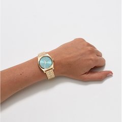Medium Time Teller Light Gold/ Turquesa - tienda online
