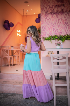 Vestido Longo Color Block - Manier Shop