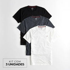 Camisetas masculinas Hollister Must-Have - Kit com 3 Unidades