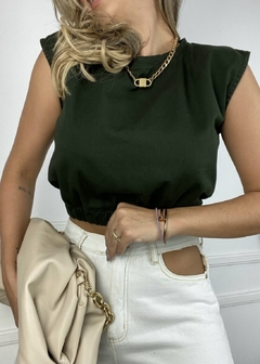 Blusa Cropped Muscle Tee Verde Militar na internet