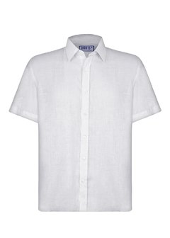White Short Sleeve Linen Shirt