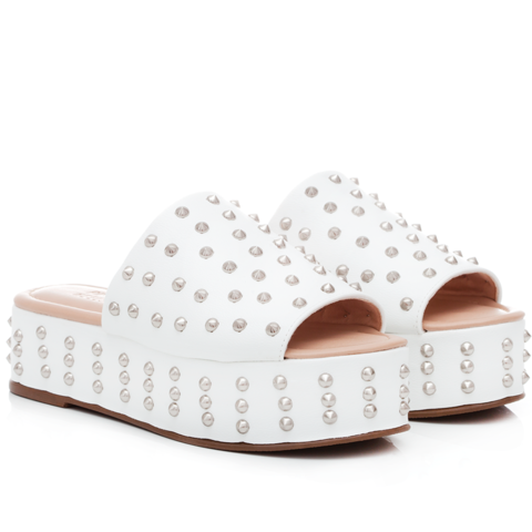 Tamanco Studded White