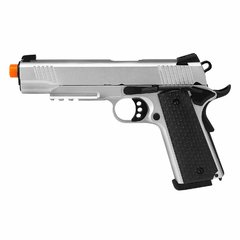 PISTOLA DE AIRSOFT À GÁS GBB GREEN GÁS R28 M1911 WARRIOR SILVER BLOWBACK 6MM - ARMY