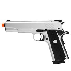 PISTOLA DE AIRSOFT À GAS GREEN GAS 1911 MKIV70 SILVER FULL METAL BLOWBACK- ARMY