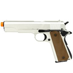 PISTOLA AIRSOFT À GÁS GREEN GÁS M1911 A1 SILVER FULL METAL BLOWBACK 6MM - ARMY