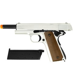 PISTOLA AIRSOFT À GÁS GREEN GÁS M1911 A1 SILVER FULL METAL BLOWBACK 6MM - ARMY na internet