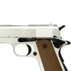 Imagem do PISTOLA AIRSOFT À GÁS GREEN GÁS M1911 A1 SILVER FULL METAL BLOWBACK 6MM - ARMY