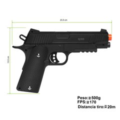 PISTOLA DE AIRSOFT SPRING 1911 G.38 FULL METAL 6MM - GALAXY na internet