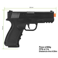 PISTOLA DE AIRSOFT SPRING G39 FULL METAL 6MM - GALAXY na internet