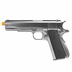 PISTOLA DE AIRSOFT À GÁS GBB GREEN GÁS 1911 CROMADA MEU GEN2 FULL METAL BLOWBACK 6MM - WE