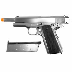 PISTOLA DE AIRSOFT À GÁS GBB GREEN GÁS 1911 CROMADA MEU GEN2 FULL METAL BLOWBACK 6MM - WE - loja online