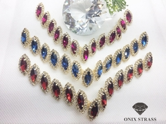 Kit 3 Pares - Cabedal - REF E-3760 - Onix Strass