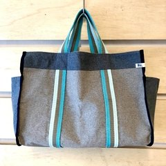 SAMPA BAGG 71 - Cinza e Denim  - Alça Tricolor