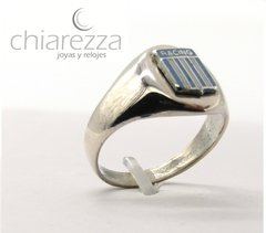 Anillo Sello Racing En Plata 925 Y Esmalte en internet