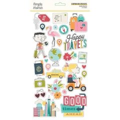 Adesivo Chipboard - Going Places - Simple Stories