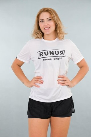 Camiseta Feminina Branca Stretch Tri Estampa Run