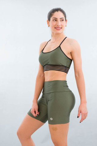 Bermuda Fitness Feminina Color Verde Croco