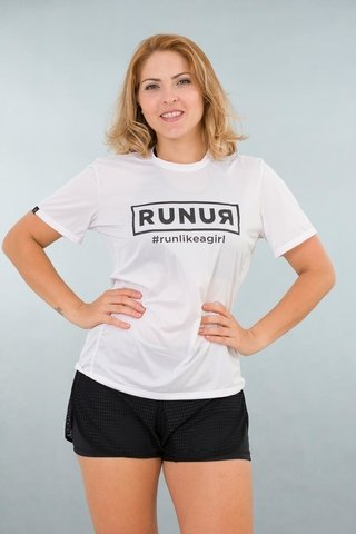 Camiseta Feminina Branca Stretch Fun Estampa Run