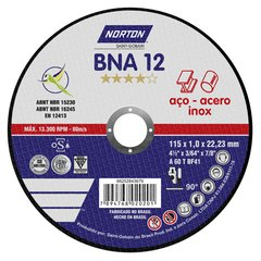 Disco de Corte Metal 115 x 1,0 mm Norton BNA Caja x 25 Un