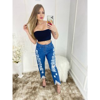 Calça Jeans Mom Rasgos Planet Girls