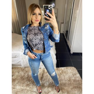JAQUETA JEANS DESTROYED REVANCHE FEMININA