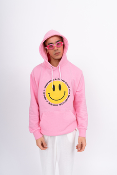 Buzo Hoodie Smile Rosa - Wendall