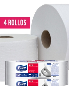 Papel Higiénico Elite Jumbo Simple Hoja Plus Blanco 4 Rollos X 500 Mts (6128)